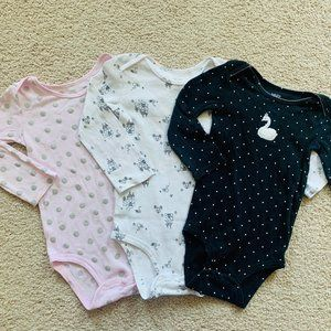 3/$20 Bundle of baby's long-sleeve bodysuits-24M